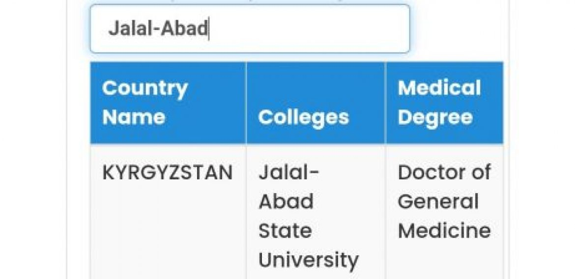 Jalal-Abad State University is recognised by Pakistan Medical Commission in category A